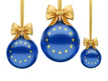 3D rendering Christmas ball with the flag of European union. 3D rendering Christmas ball decorated with the flag of European union Stock Photography