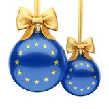 3D rendering Christmas ball with the flag of European union. 3D rendering Christmas ball decorated with the flag of European union Royalty Free Stock Photos