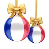 3D rendering Christmas ball with the flag of France. 3D rendering Christmas ball decorated with the flag of France Royalty Free Stock Image