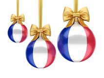 3D rendering Christmas ball with the flag of France. 3D rendering Christmas ball decorated with the flag of France Royalty Free Stock Photography