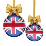 3D rendering Christmas ball with the flag of Great Britain. 3D rendering Christmas ball decorated with the flag of Great Britain Royalty Free Stock Image