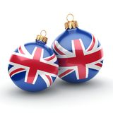 3D rendering Christmas ball with the flag of Great Britain. 3D rendering Christmas ball decorated with the flag of Great Britain Stock Photo