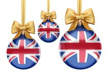 3D rendering Christmas ball with the flag of Great Britain. 3D rendering Christmas ball decorated with the flag of Great Britain Royalty Free Stock Photos