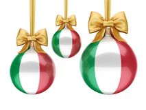 3D rendering Christmas ball with the flag of Italy Stock Photos