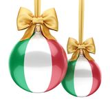 3D rendering Christmas ball with the flag of Italy. 3D rendering Christmas ball decorated with the flag of Italy Stock Photos