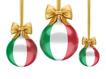 3D rendering Christmas ball with the flag of Italy. 3D rendering Christmas ball decorated with the flag of Italy Stock Photography