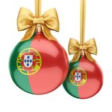 3D rendering Christmas ball with the flag of Portugal Royalty Free Stock Images
