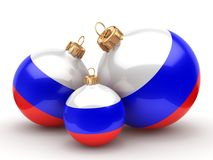 3D rendering Christmas ball with the flag of Russia. 3D rendering Christmas ball decorated with the flag of Russia Royalty Free Stock Photography