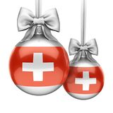 3D rendering Christmas ball with the flag of Switzerland Stock Images