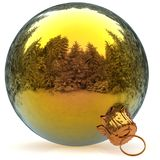 3d rendering Christmas ball golden decoration closeup Royalty Free Stock Image