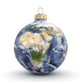 3D rendering Christmas ball Planet Earth Stock Photos