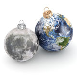 3D rendering Christmas ball Planet Earth and Moon Stock Photography