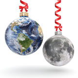 3D rendering Christmas ball Planet Earth and Moon Stock Photos