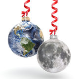 3D rendering Christmas ball Planet Earth and Moon Stock Photo