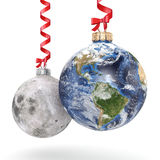 3D rendering Christmas ball Planet Earth and Moon Royalty Free Stock Photography