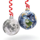 3D rendering Christmas ball Planet Earth and Moon Royalty Free Stock Photo