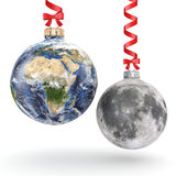 3D rendering Christmas ball Planet Earth and Moon Stock Images