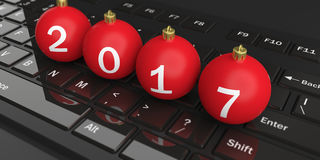 3d rendering christmas balls on a keyboard Royalty Free Stock Image