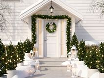 Christmas decorated porch with little trees and lanterns. 3d rendering. 3d rendering. christmas decorated porch with little trees and lanterns Royalty Free Stock Images