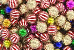 3d rendering Christmas, New Year, festive gold, green and red balls stock photos