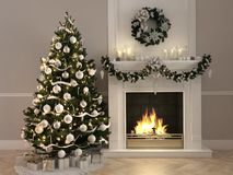 3d rendering. christmas scene with decorated tree and fireplace. Christmas scene with decorated tree and fireplace. 3d rendering Stock Images