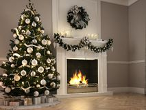 3d rendering. christmas scene with decorated tree and fireplace. Christmas scene with decorated tree and fireplace. 3d rendering Stock Image
