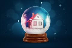3d rendering of christmas snow globe with house inside on dark blue background royalty free illustration