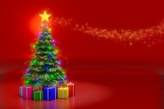 3d rendering of Christmas tree with lighting decoration and colo stock illustration