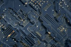3d rendering, Circuit board and gold glow chip stock photo