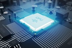 3D rendering Circuit board. Technology background. Central Computer Processors CPU concept. Motherboard digital chip vector illustration