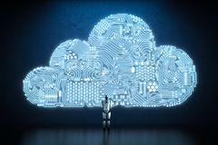 Circuit cloud with robot. 3d rendering circuit cloud with humanoid robot Stock Image
