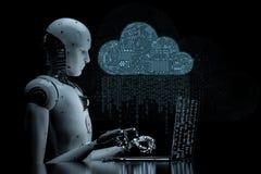 Circuit cloud with robot. 3d rendering circuit cloud with humanoid robot Stock Photos