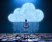 Robot with circuit cloud. 3d rendering circuit cloud with humanoid robot Royalty Free Stock Photography
