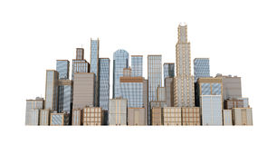 3d rendering of a city landscape with office buildings and skyscrapers isolated on white background. Royalty Free Stock Images