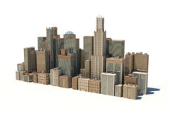 3d rendering of a city landscape with office buildings and skyscrapers isolated on white background. Royalty Free Stock Photos