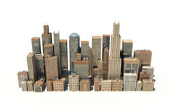 3d rendering of a city landscape with office buildings and skyscrapers isolated on white background. Stock Photo