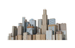 3d rendering of a city landscape with office buildings and skyscrapers  on white background. Stock Images