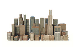 3d rendering of a city landscape with office buildings and skyscrapers  on white background. Stock Image