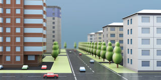 3D rendering of a city street Stock Photos