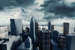 3d rendering of cityscape with high building in front of stormy. Clouds Stock Image