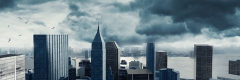 3d rendering of dramatic cityscape with high building in front o. 3d rendering of cityscape with high building in front of stormy clouds Stock Photos