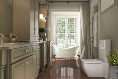 3d rendering classic bathroom with wood floor and garden view from window. 3d rendering interior and exterior design Stock Image