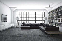 3d rendering classic luxury living room with bookshelf with book royalty free illustration