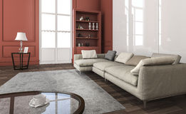 3d rendering classic red living room with beautiful furniture Stock Photo