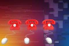 3D rendering of a classic red telephone connected to a computer mouse illustration Stock Photos