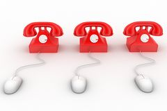 3D rendering of a classic red telephone connected to a computer mouse Royalty Free Stock Photography
