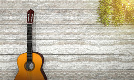 3d rendering classical guitar near vintage wooden wall with ivy Stock Photos