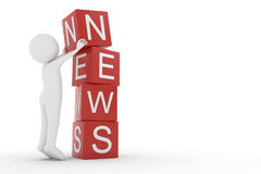 3D rendering from a clay character lifting a cube letter N to the top of the other letters from thew word news. A 3D rendering from a clay character lifting a Stock Photos