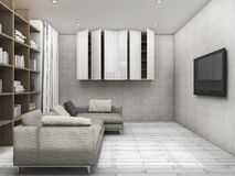3d rendering clean living room with bookshelf and tv Stock Images