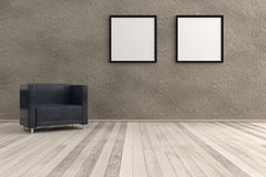 3d rendering from a clean living room with a chair on the floor. A 3d rendering from a clean living room with a chair on the floor and two picture frames at the royalty free illustration